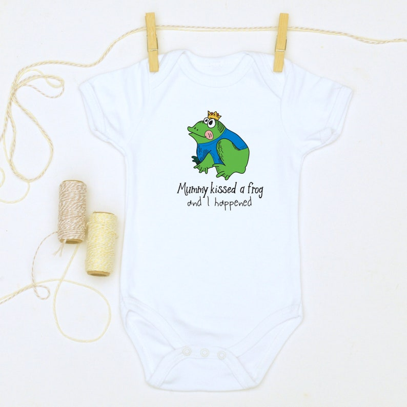 fd54655c2 Fairytale Funny Babygrow Gift Kissed a frog Baby CLothes