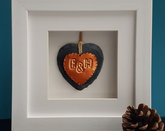Handmade Copper & Slate Heart Framed Ornament, personalised 7th wedding anniversary gift