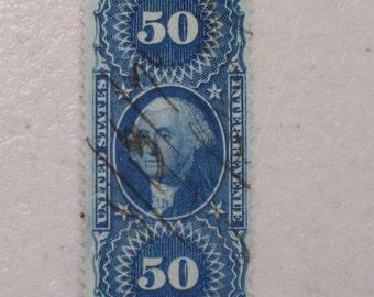 US 1862 Original Process Revenue Stamp Scott R60c Washington 50 Cents 19th Century
