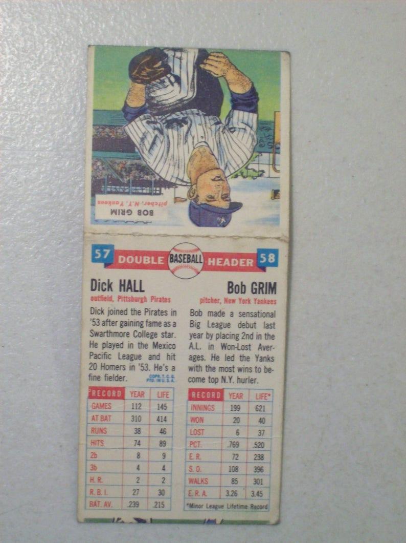 Antique 1955 Topps Double Header Baseball Card Dick Hall Bob Grim 57 58