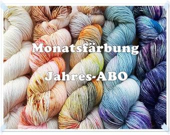 Color of the month SockYarn, handdyed  75 Wool, 25 Polyamid 12x100g 3.5 oz.