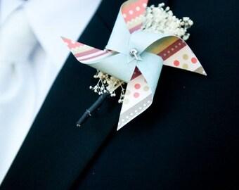 Wedding Boutonniere Mini Pinwheels Custom Made To Order