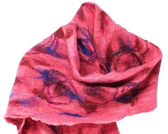 Merino Wool Felted Women Scar on Silk - Flames of Fire