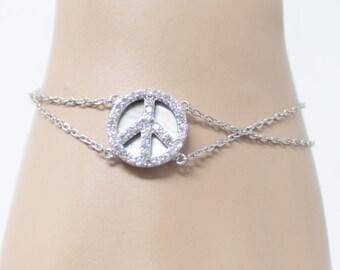 Peace Sign with Zirconia stone Silver Bracelet | Funky, Fashioned round peace symbol | Silver Jewelry | Charm Jewelry| Ankle Bracelet |