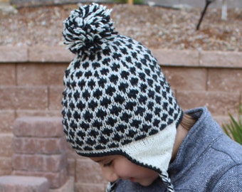 Knit Winter Hat, 100% Wool and Fleece Lining