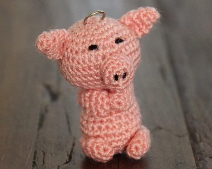Cute Amigurumi Pig Keychain - Crochet Keychain Pig Toy - Amigurumi Handmade Bag Charm Crochet Gift