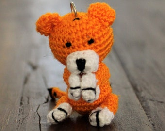 Crochet Tiger Keychain, Amigurumi Handmade Gift,  Bag Charm Gift and travel companion tag