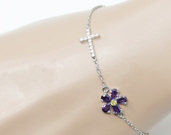 Silver Cross Forget-me-nots Purple Flower Bracelet | Silver Jewelry | Charm Jewelry| Ankle Bracelet | Sideways Cross | Dainty Cross |