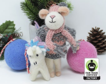Wool Christmas Ornaments | Mouse Ornament | Wool Ornaments | Animals Tree Decorations (4pcs)