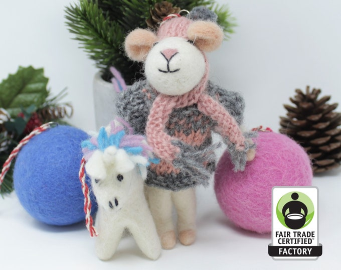 Wool Christmas Ornaments | Mouse Ornament | Wool Ornaments | Animals Tree Decorations (4pcs)