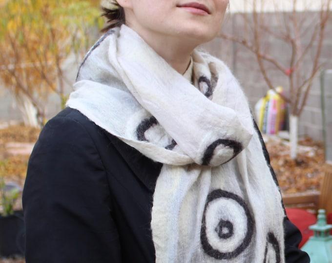 Women's Merino Wool Warm Winter Felt Scarf on Silk