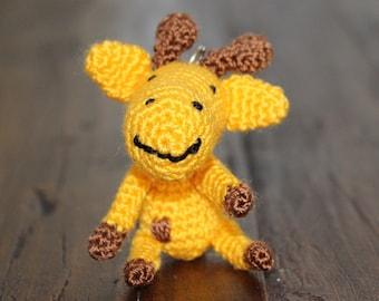 Crochet Baby Giraffe Keychain, Crochet Amigurumi Handmade Gift and Crochet Bag Charm and Traveling Companion Tag
