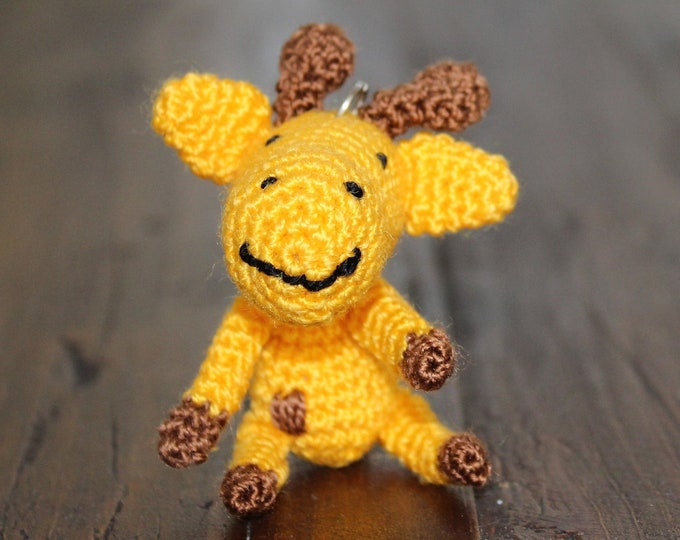 Crochet Baby Giraffe Keychain, Crochet Amigurumi Handmade Gift and Crochet Bag Charm and Traveling Companion Tag