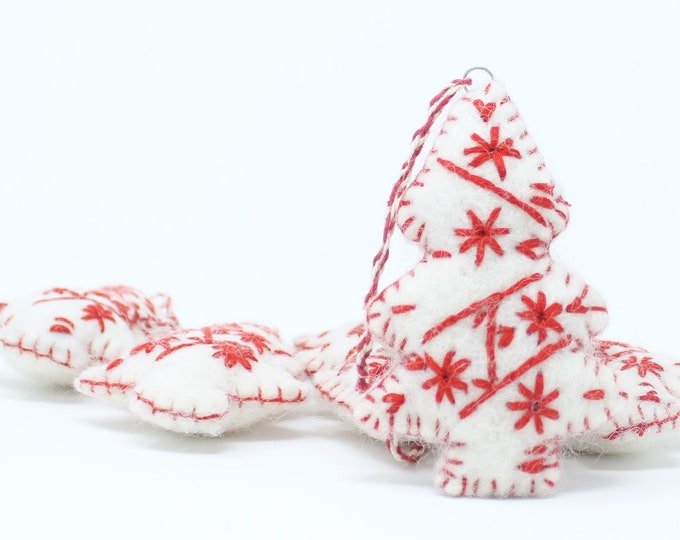Felt Wool White Tree - Pack of 6 Christmas Tree Ornaments - Handmade from Eco-friendly dyes and 100% Wool - Fair Trade Certified™ Christmas