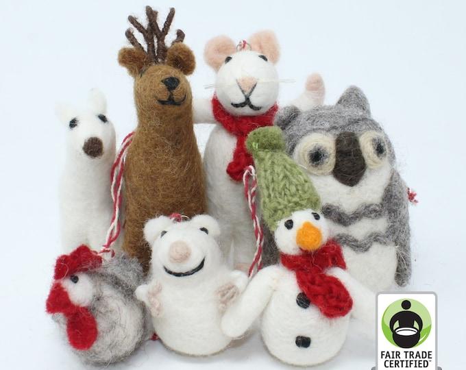 Felt Wool Christmas Ornament - Handmade Classic Animal Felt Christmas Tree Kit - Eco-friendly and Fair Trade Certified Collection (7pcs)