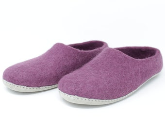 Felted Wool Women's Purple Slippers | Wool Shoes | Sheep Wool Slippers | Women's Slippers | Home Shoes | Mother's Day Gift
