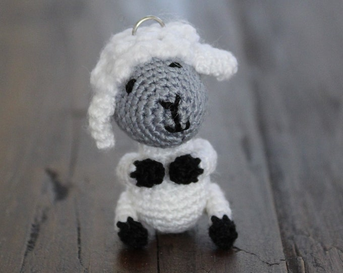 Crochet White Lamb Keychain - Crochet Amigurumi Sheep gift - Crochet Animal Bag Charm and Companion