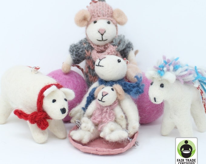 Felt Wool Christmas Ornament - Handmade Animal Felt Christmas Tree Kit - Eco-friendly and Fair Trade Certified Collection (6pcs)