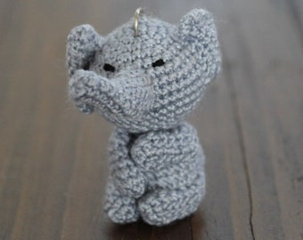 Crochet Elephant Keychain, Amigurumi Handmade Gift, Good Luck Bag Charm and Travel tag companion