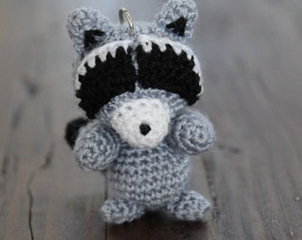 Crochet Raccoon Keychain, Crochet Amigurumi Handmade Gift and Crochet Crochet as Bag Charm and Companion