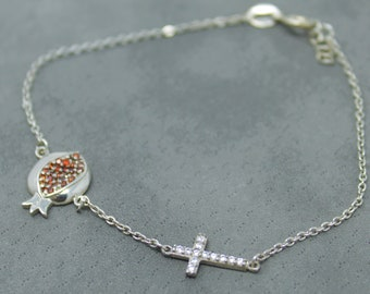 Silver Cross Pomegranate Bracelet | Silver Jewelry | Charm Jewelry| Ankle Bracelet | Sideways Cross | Dainty Cross | Thin Cross