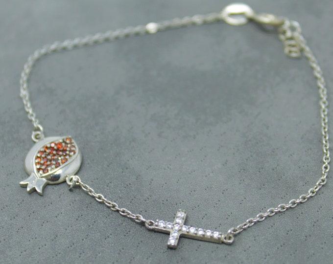 Silver Cross Pomegranate Bracelet | Silver Jewelry | Charm Jewelry| Ankle Bracelet | Sideways Cross | Dainty Cross | Thin Cross