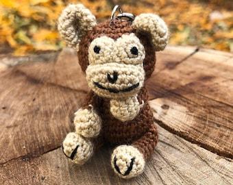 Crochet keychain - Monkey Amigurumi Keyring- Little Monkey Keychain - Handmade Cute Monkey Gift