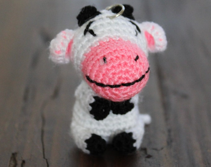 Crochet Cow Calf Keychain, Amigurumi Handmade Good Luck Bag Charm Gift and Travelling Companion Bag Tag