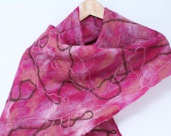 Women's Felt Wool Scarf - Rose Pink
