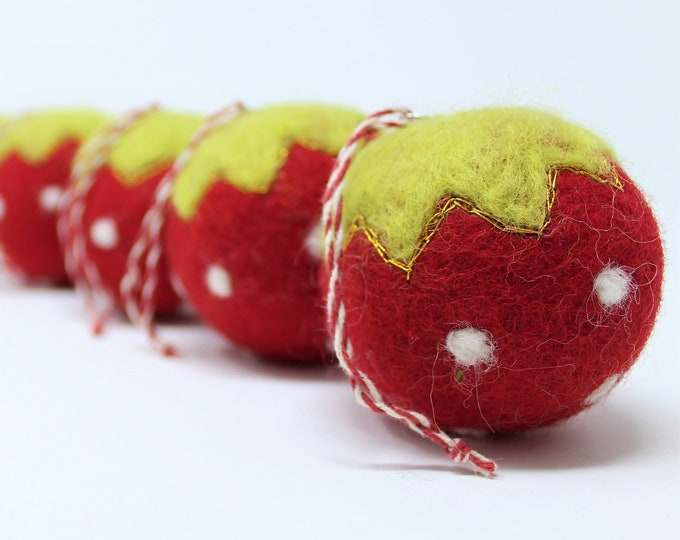 Felt Wool Christmas Decor Red Balls - Tree Ornaments - Set of 6 Holiday Decor Handmade Strawberry and 100% Wool - Fair Trade Certified™
