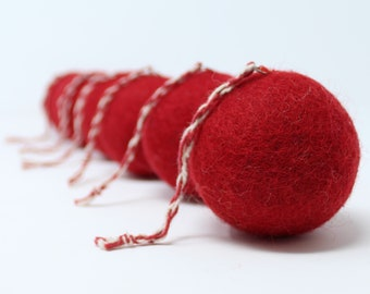 Felt Christmas Balls Red Balls - Set of 6 Felt Ornaments - Handmade from Eco-friendly dyes -100% Wool - Fair Trade Certified™ Gifts
