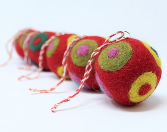 Felted Wool Balls - Red Set of 6 Christmas Ball Ornaments - Handmade from Eco-friendly dyes and 100% Wool - Fair Trade Certified™