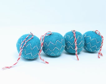Felted Wool Balls - Blue Pack of 4 - Christmas Tree Ornaments - Handmade from Eco-friendly dyes and 100% Wool - Fair Trade Certified™