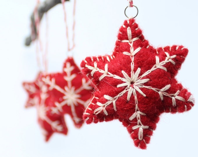 Felt Ornaments, Red Snowflakes - Pack of 6 Christmas Ornaments - Felt Wool Ornaments Collection - Felt Christmas Tree Ornaments