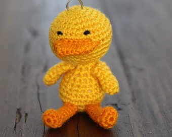 Crochet Yellow Duck Keychain - Amigurumi Yellow Duck Gift - Good Luck Charm, and Travelling companion