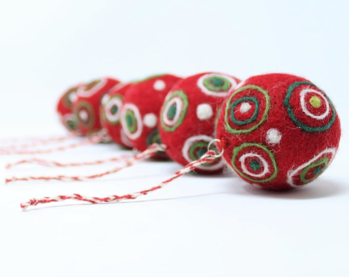 Felt Wool Red Balls - Felted Christmas Tree Ornaments - Handmade from Eco-friendly dyes and 100% Wool - Fair Trade Certified™ Set of 6