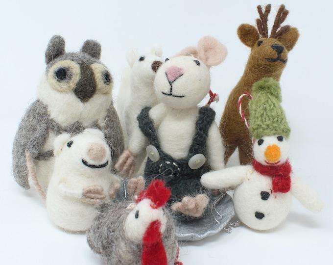 Felt Wool Christmas Ornament Handmade Classic Animal Felt Christmas Tree Mouse on Sled - Ecofriendly Fair Trade Certified Collection (7pcs)