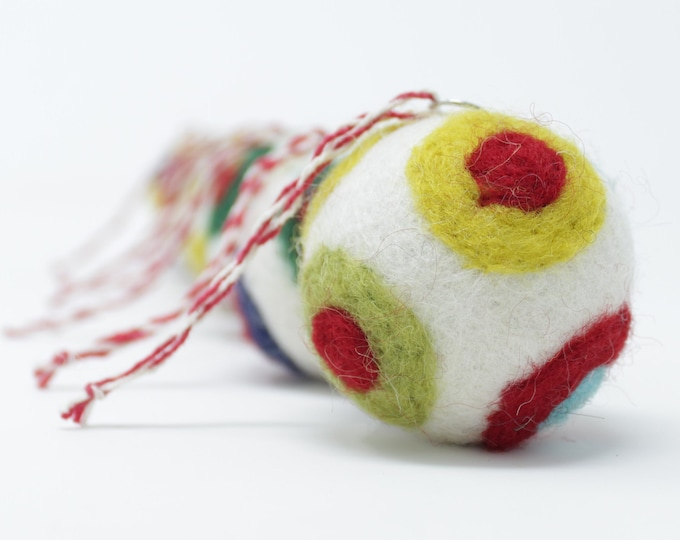 Felted Wool Balls - White Set of 6 Christmas Ball Ornaments - Handmade from Eco-friendly dyes and 100% Wool - Fair Trade Certified™