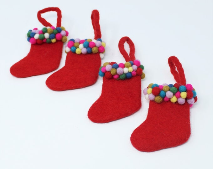 Christmas Ornaments - Handmade Felt Christmas Tree Ornaments - Christmas Stocking made from nontoxic dyes and pure Wool, PACK OF 4