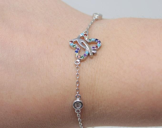 Silver Butterfly Bracelet Zirconia Stones | Silver Jewelry | Charm Jewelry| Ankle Bracelet | Dainty Charm