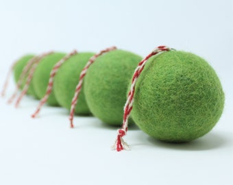 Felt Wool Green Balls - Pack of 6 Christmas Tree Ornaments - Handmade from Eco-friendly dyes -100% Wool - Fair Trade Certified™ Gifts