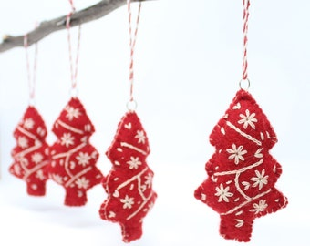 Felt Ornaments, Red Christmas Trees - Pack of 8 Christmas Ornaments - Felt Wool Ornaments Collection - Felt Christmas Tree Ornaments