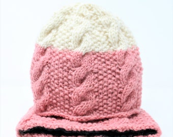 Womens Knit Winter Hat | Hand Knitted Beanie | Pink Hats | Winter Beanie | Winter Hat | Knitted Beanie | Hat | Fleece Lined