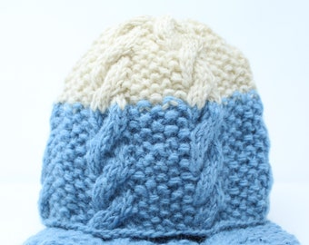 Eco-Friendly Knit Winter Hat | Hand Knitted Beanie | Blue Hats | Winter Beanie | Winter Hat | Knitted Beanie | Hat | Fleece Lined