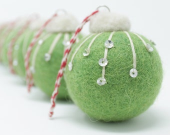 Felt Wool Green Balls Frost - Pack of 6 Christmas Tree Ornaments - Handmade from Eco-friendly dyes and 100% Wool - Fair Trade Certified™