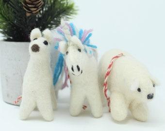 Christmas Wool Ornaments | Three Friends Ornament | Wool Ornaments | Animals Tree Decorations (3pcs)