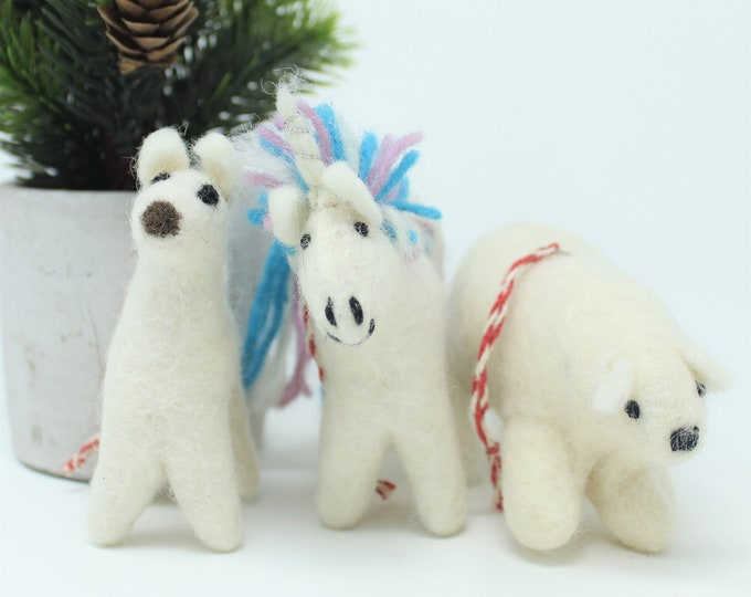 Christmas Wool Ornaments | Three Friends Ornament | Wool Ornaments | Animals Tree Decorations (3pcs)