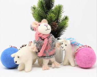 Wool Christmas Ornaments | Mouse Ornament | Wool Ornaments | Animals Tree Decorations (5pcs)