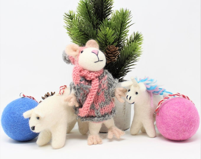 Wool Christmas Ornaments | Mouse Ornament | Wool Ornaments | Animals Tree Decorations (5pcs)