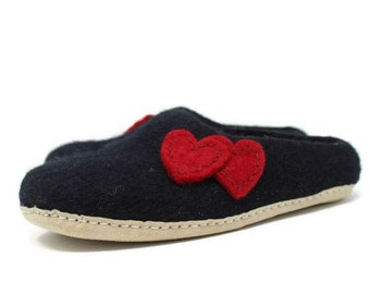 Felted Wool Heart Embellished Women's Black Slippers | Wool Shoes | Sheep Wool Slippers | Women's Slippers | Home Shoes | House Shoes